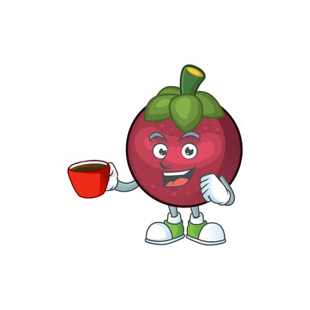 Drinking in cup fruit mangosteen cartoon character for health vector illustration