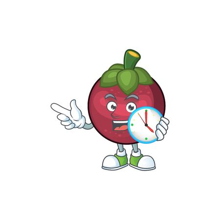 With clock fruit mangosteen cartoon character for health vector illustration