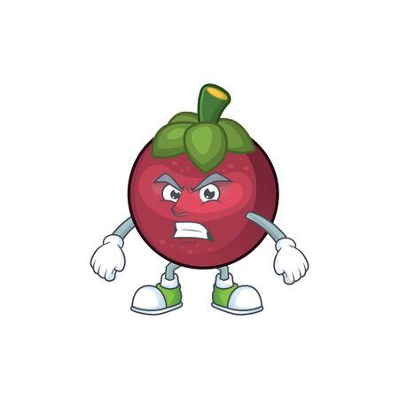 Scream fruit mangosteen cartoon character for health vector illustration