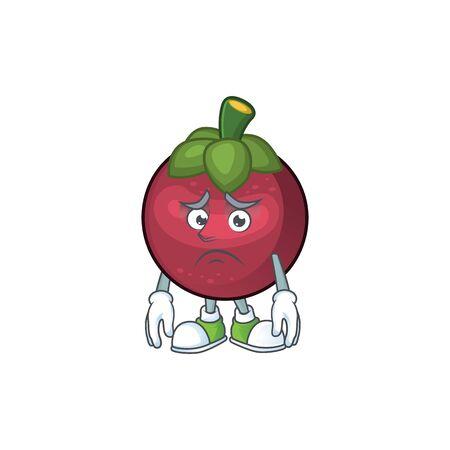 Afraid mangosteen fruit cartoon character isolated on mascot vector illustration Stockfoto - 129462021