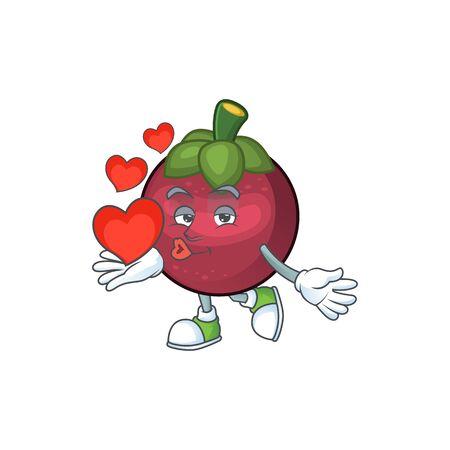 With heart mangosteen fruit cartoon character isolated on mascot vector illustration Illusztráció