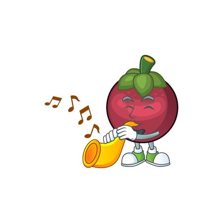With trumpet mangosteen fruit cartoon character isolated on mascot vector illustration