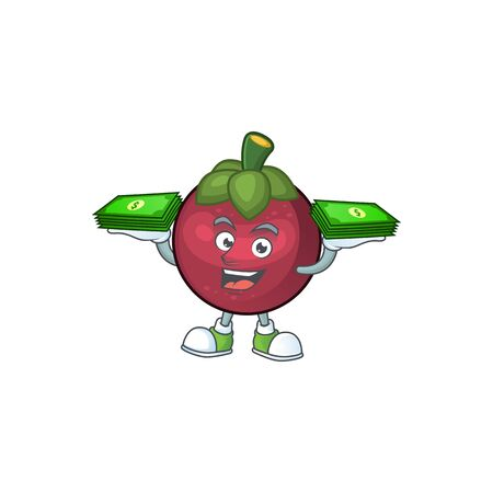 With money mangosteen fruit cartoon character isolated on mascot vector illustration