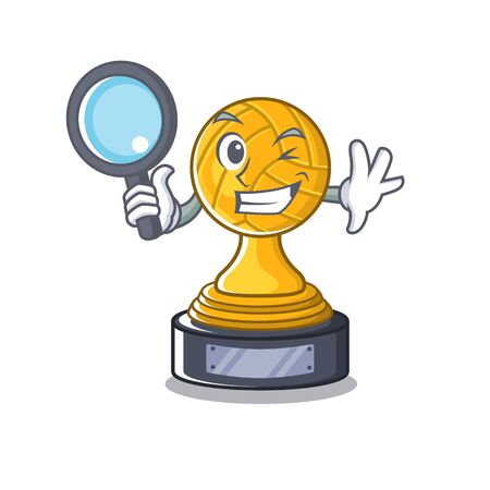 Detective volleyball cartoon trophy in mascot cupboard Ilustração