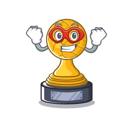 Super hero volleyball cartoon trophy in mascot cupboard