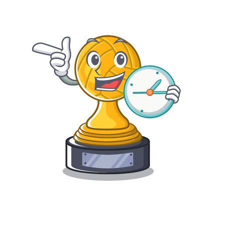 With clock volleyball cartoon trophy in mascot cupboard