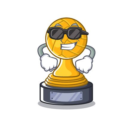 Super cool volleyball cartoon trophy in mascot cupboard vector illustration