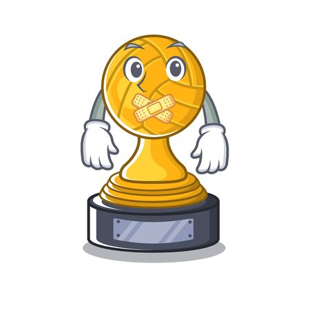 Silent volleyball trophy cartoona displayed bove character table Illustration
