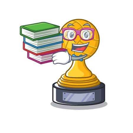 Student with book volleyball trophy cartoon displayed above character table