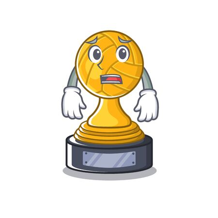 Afraid volleyball trophy in the character shape vector illustration