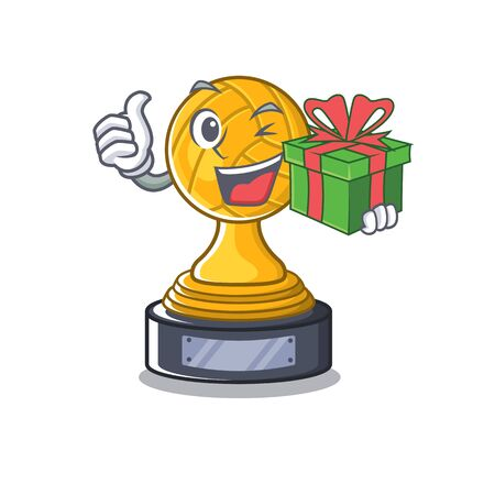 With gift volleyball trophy in the character shape