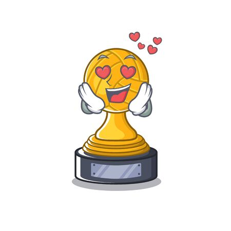In love volleyball trophy in the character shape