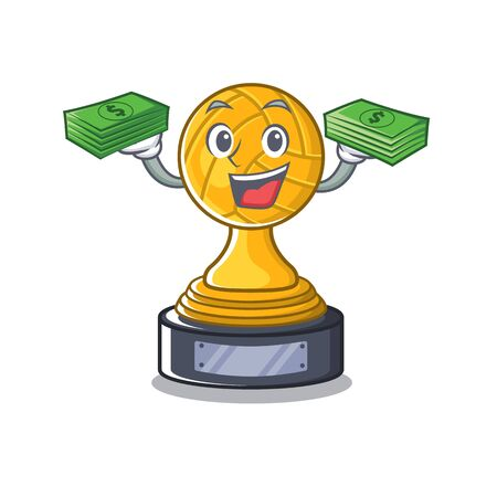 With money volleyball trophy in theWith money bag character shape