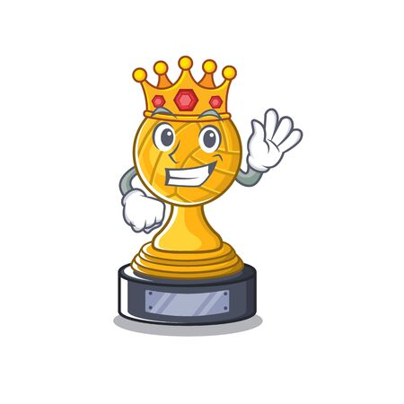 King volleyball trophy cartoon displayed above character table
