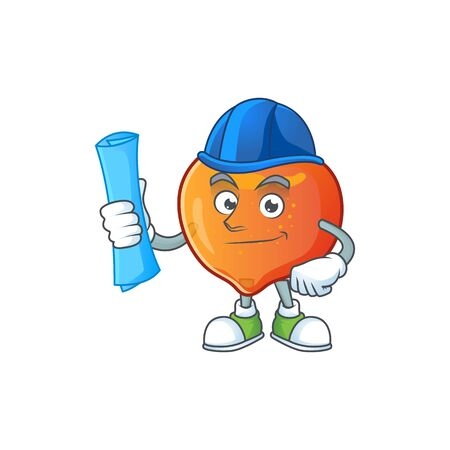 Architect nectarine character mascot funny shape cartoon. vector illustration