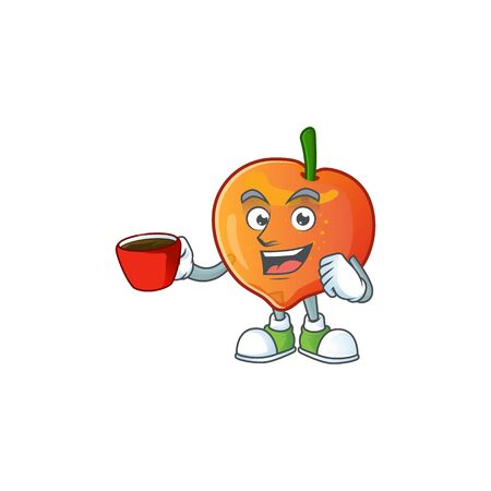 Drinking in cup nectarine character mascot funny shape cartoon. vector illustration Ilustração