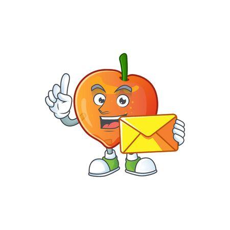 With envelope nectarine character mascot funny shape cartoon. vector illustration Stock Illustratie