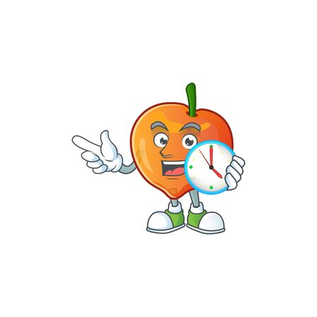 With clock nectarine character mascot funny shape cartoon. vector illustration