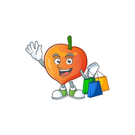 Shopping nectarine character mascot funny shape cartoon. vector illustration
