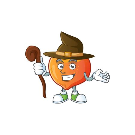 Witch nectarine cartoon character on a white background vector illustration