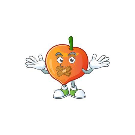 Silent sweet nectarine character maskot of cartoon style vector illustration Çizim