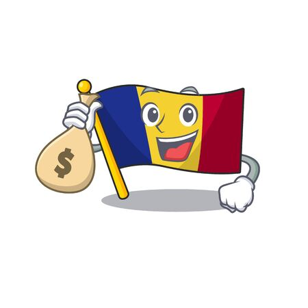 With money bag flag romania isolated with the mascot Çizim