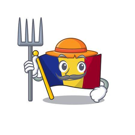 Farmer flag romania isolated with the mascot Иллюстрация