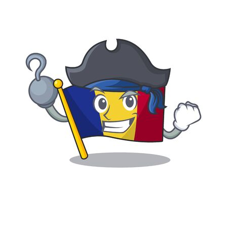 Pirate flag romania isolated with the mascot
