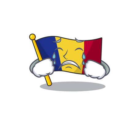 Crying romanian cartoon flag folded in drawer