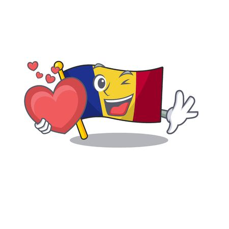 With heart romanian cartoon flag folded in drawer vector illustration