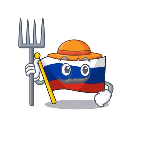 Farmer russian mascot flag shaped on character