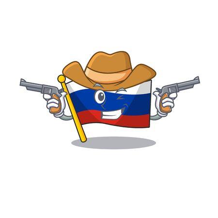 Cowboy russian mascot flag shaped on character Çizim