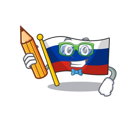Student flag russian stored in cartoon cupboard