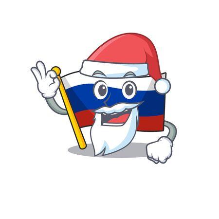 Santa flag russia isolated in the cartoon vector illustration