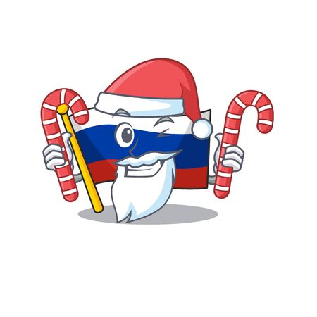 Santa with candy flag russia isolated in the cartoon vector illustration