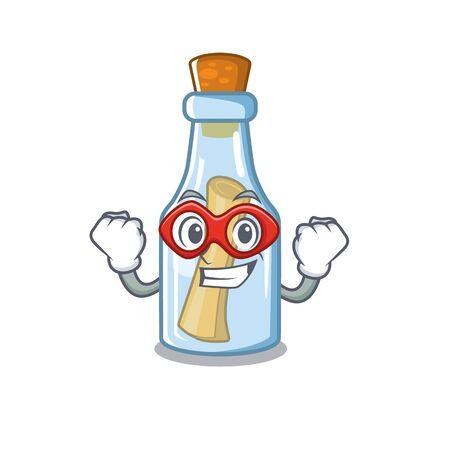 Super hero message in bottle on the cartoon