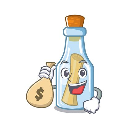 With money bag message in bottle isolated with cartoon