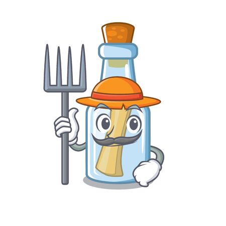 Farmer message in bottle isolated with cartoon