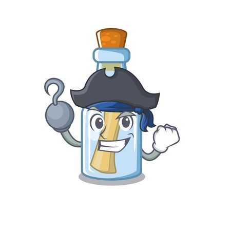 Pirate message in bottle isolated with cartoon