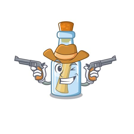 Cowboy message in bottle isolated with cartoon