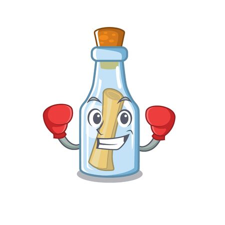Boxing message in bottle isolated with cartoon