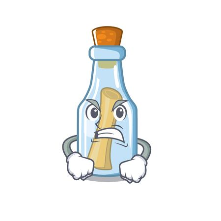 Angry message in bottle on a character vector illustration