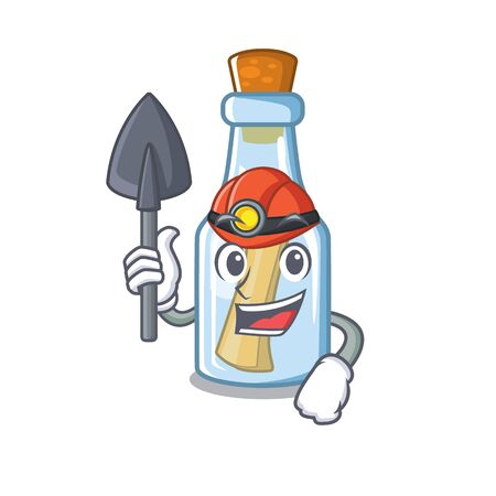 Miner message in bottle on a character vector illustration