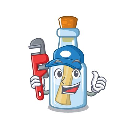 Plumber message in bottle with shape mascot vector illustration