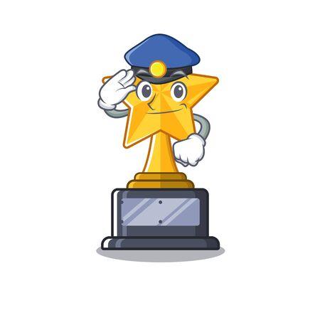 Police cartoon star trophy in character drawer Illusztráció
