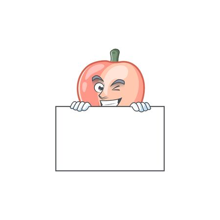Grinning with board cartoon peach isolated on white background vector illustration