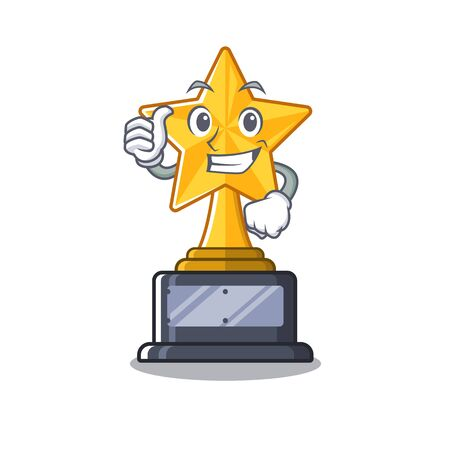 Thumbs up star trophy with the character shape vector illustration Ilustração