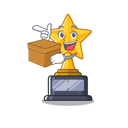 With box star trophy with the character shape vector illustration Stock Illustratie