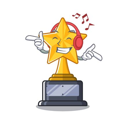 Listening music star trophy isolated in the cartoon vector illustration