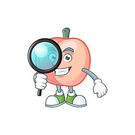Detective peach character mascot for cute emoticon Illustration